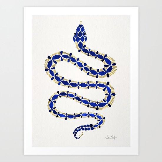 Navy & Gold Serpent Art Print