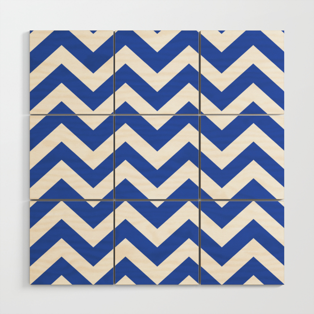 Society6cerulean Blue Blue Color Zigzag Chevron Pattern Wood Wall Art By Makeitcolorful Dailymail