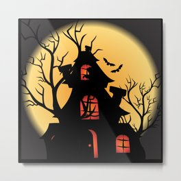 Halloween Haunted House Metal Print