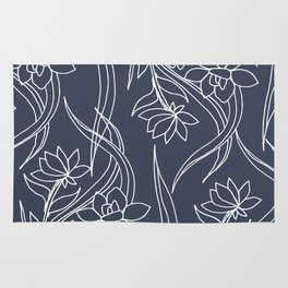 Floral Drawing in Blue Rug