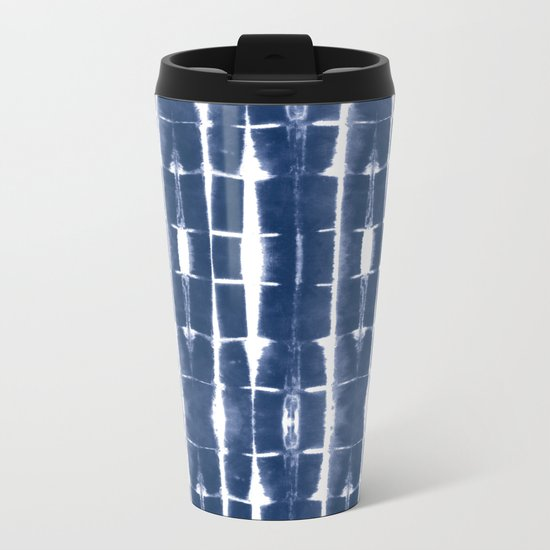 Shibori Stripes 3 Indigo Blue Metal Travel Mug