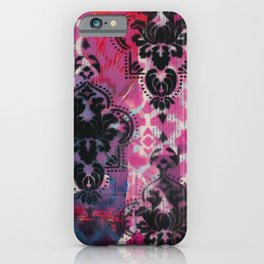 Mixed Media - Black, Red & Pink iPhone Case