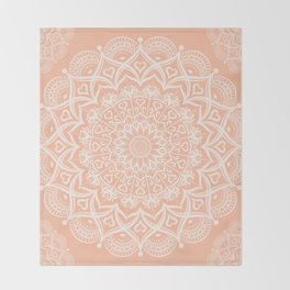 Elegant Peach Mandala Throw Blanket