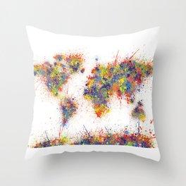 World map artistic Throw Pillow