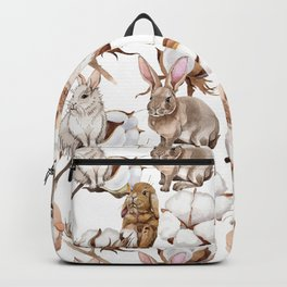 Cotton Flower & Rabbit Pattern 02 Backpack