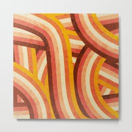 Vintage Orange 70's Style Rainbow Stripes Metal Print