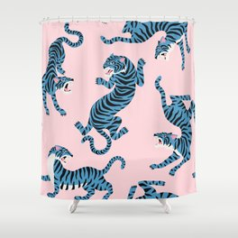 Pastel Pink & Blue Tiger Pattern Shower Curtain