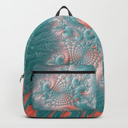 Abstract Coral Reef Living Coral Pastel Teal Blue Texture Spiral Swirl Pattern Fractal Fine Art Backpack