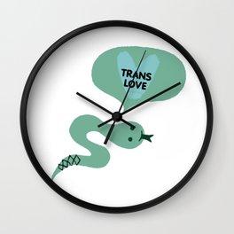 "green ""trans love"" cutsy vday snake Wall Clock"