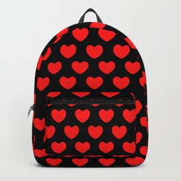 Red Hearts on Black Backpack