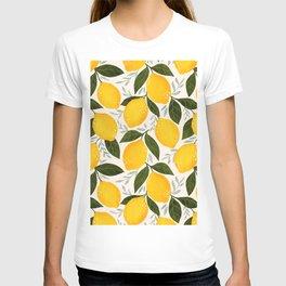 Mediterranean Summer Lemons Pattern T-shirt