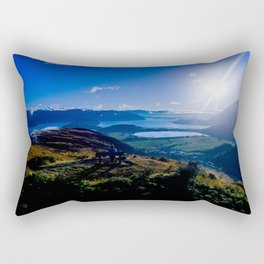 lake wanaka covered in blue colors new zealand beauties and mountains at sunrise Rectangular Pillow