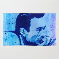 johnny cash Area & Throw Rugs featuring Johnny Cash by Jason Hughes