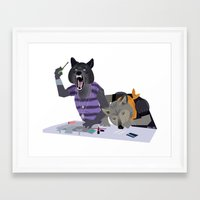 cocaine Framed Art Prints featuring cocaine wolves by Dyna Moe