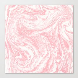 Elegant coral pink white watercolor abstract marble Canvas Print