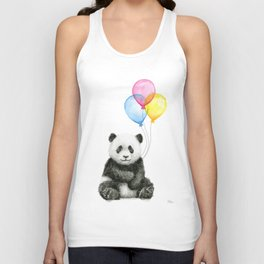 Panda Baby with Balloons Whimsical Nursery Animals Unisex Tank Top