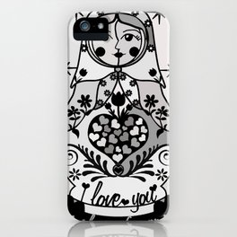 Gray matryoshka by Lilach Vidal iPhone Case