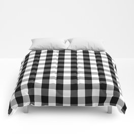 Large Black White Gingham Checked Square Pattern Comforters