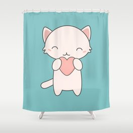 Kawaii Cute Cat With Hearts Shower Curtain