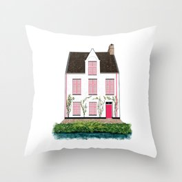 Pink and White House in Bruges Throw Pillow
