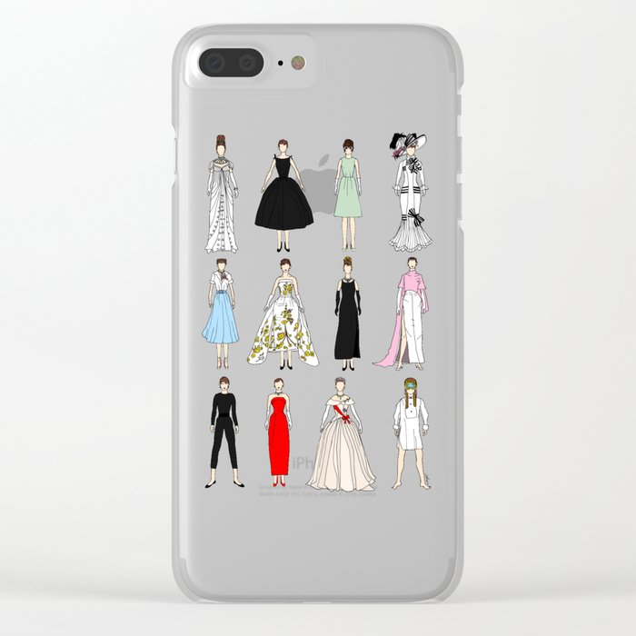 Outfits of Audrey Hepburn Fashion (White) Clear iPhone Case