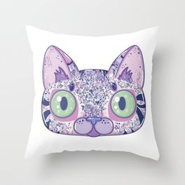 Chromatic Cat II (Purple, Blue, Pink) Throw Pillow