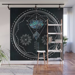 Unalome Lotus on Abalone Shell with Silver Wall Mural