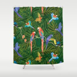 Rainforest Birds: Dark Green Shower Curtain