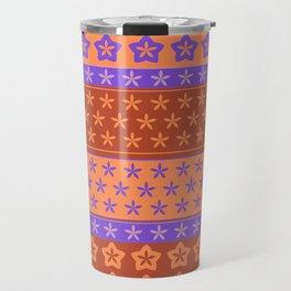 Flowers on stripes shabby chic pattern 2 Travel Mug
