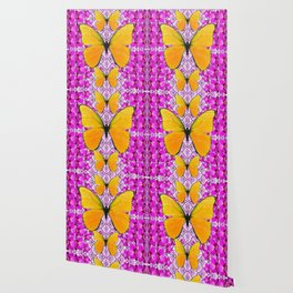 FUCHSIA COLORED  ORCHIDS &  YELLOW  BUTTERFLY FLORAL Wallpaper