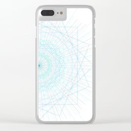Spirograph Teal Light Geo Bursts Squares Abstract Minimal Art Clear iPhone Case