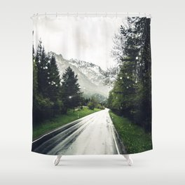 Down the Road - Mountains, Forest, Austria Shower Curtain