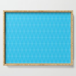 Simple Geometric Triangle Pattern - White on Teal - Mix & Match with Simplicity of life Serving Tray