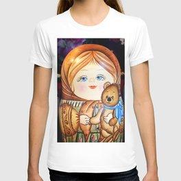 Matrioska. Little girl with teddy bear. T-shirt