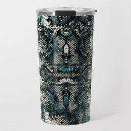 Teal Animal Print Pattern Travel Mug