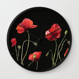 Poppies at Midnight Wall Clock