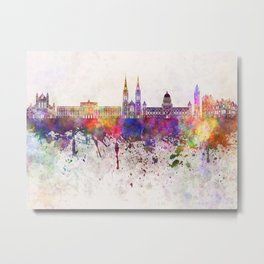 Belfast skyline in watercolor background Metal Print