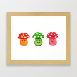 funny mushroom watercolor painting Framed Art Print