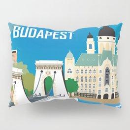 Budapest, Hungary - Skyline Illustration by Loose Petals Pillow Sham