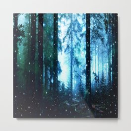 Fireflies Night Forest Metal Print