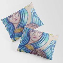 Blue Nova, Turtle Colored Pencil Drawing Pillow Sham