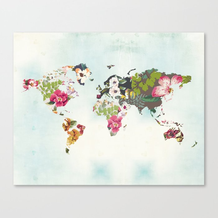 World map art print poster tropical home decor floral teal blue world map art print poster tropical home decor floral teal blue canvas gumiabroncs Images