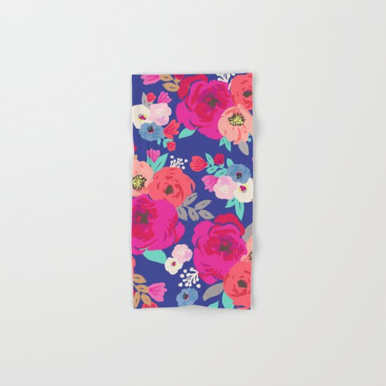 Sweet Pea Floral Blue Hand & Bath Towel
