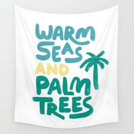 Warm Seas and Palm Trees Vintage Wall Tapestry