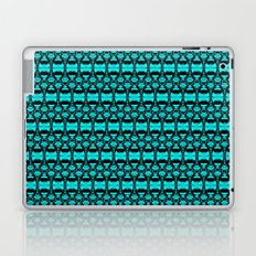 Abstract Pattern Dividers 02 in Turquoise Black Laptop & iPad Skin