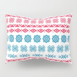 Hand painted blue red watercolor scandinavian geometrical pattern Pillow Sham