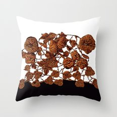 copper embroidery on black and white Throw Pillow