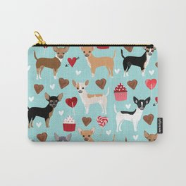 Chihuahua love hearts cupcakes valentines day gift for chiwawa lovers Carry-All Pouch