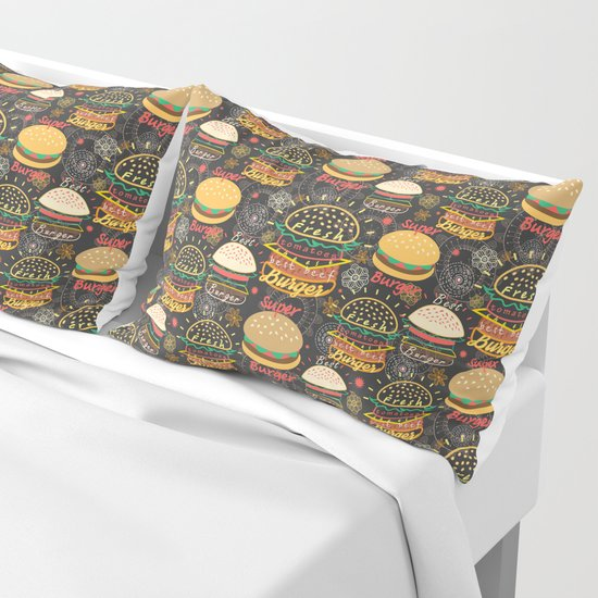 Graphic seamless pattern bright tasty burgers on a dark background by tanor