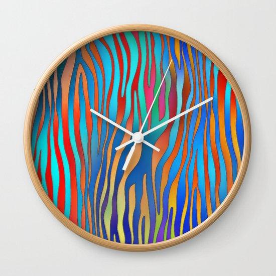 Colored Zebra Pattern Wall Clock